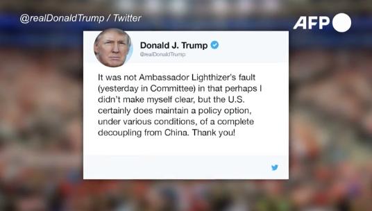 """EEUU maneja opción de """"cortar todos los puentes"""" con China, dice Trump"""