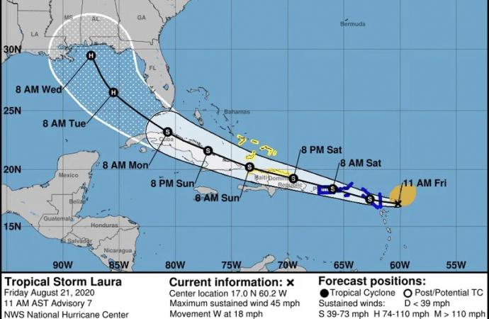 Emiten aviso de tormenta tropical para Puerto Rico por el paso cercano de Laura