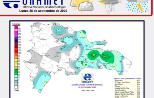 El COE emite alerta verde para nueve provincias y el DN por lluvias