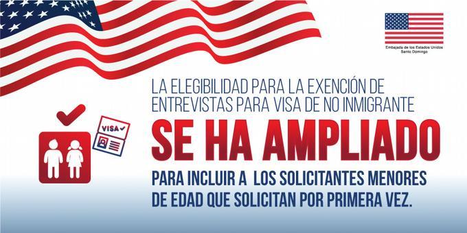 Embajada de EEUU exonera de entrevista a menores en solicitud de visa de no inmigrante por primera vez